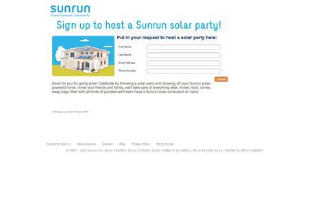 Screenshot of Landing Page sunrun.com captured Aug. 18, 2016