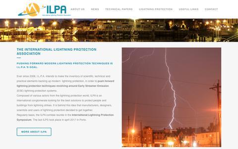 Screenshot of Home Page intlpa.org - ILPA - International Lightning Protection Association - captured Oct. 12, 2018