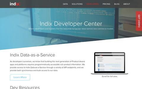 Screenshot of Developers Page indix.com - Dev Center | Indix - captured March 22, 2016