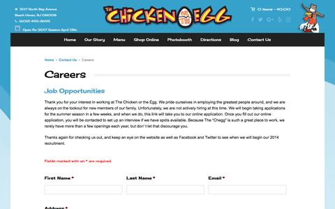 Screenshot of Jobs Page 492fowl.com - Careers at The Chicken or the Egg in Beach Haven NJ - captured April 25, 2017