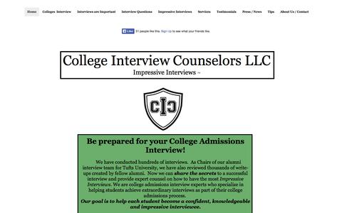 Screenshot of Home Page collegeinterviewcounselors.com - College Interview Counselors llc - Home - captured Oct. 8, 2014