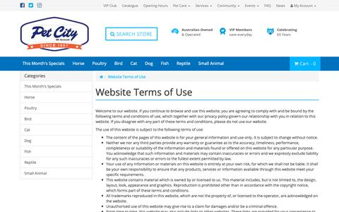 Screenshot of Terms Page petcity.com.au - Terms of Using Our Website - captured Sept. 27, 2018