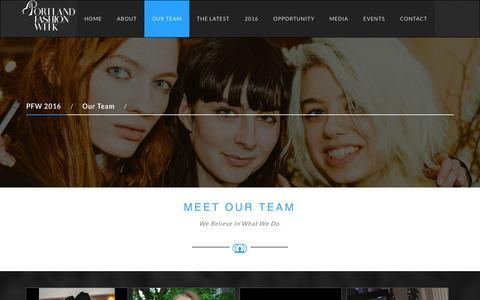 Screenshot of Team Page portlandfashionweek.net - PFW 2016-Our Team - captured Nov. 9, 2016