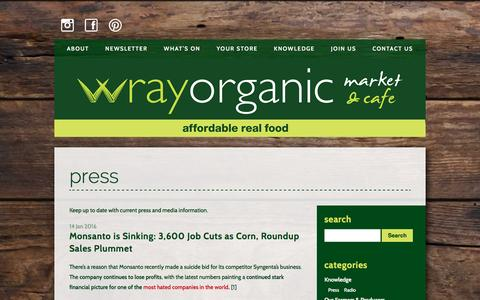 Screenshot of Press Page wrayorganic.com.au - Wray Organic  : Press - captured Jan. 28, 2016