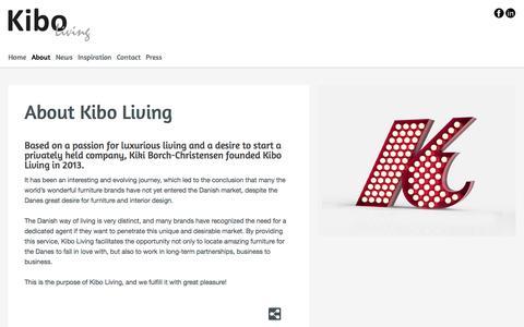 Screenshot of About Page kiboliving.com - Kibo Living - About Kibo Living - captured Sept. 30, 2014