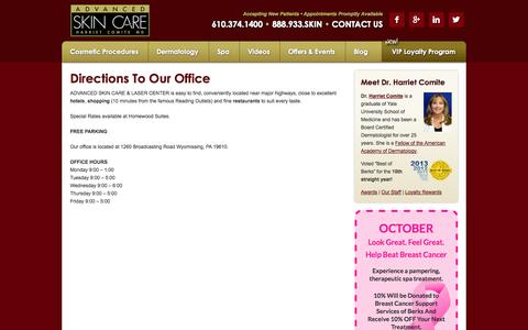 Screenshot of Maps & Directions Page comiteskin.com - Directions To Our Office - Advanced Skin Care Dermatology, Spa & Laser Center   Dermatologist Harriet Comite, MD - captured Oct. 4, 2014