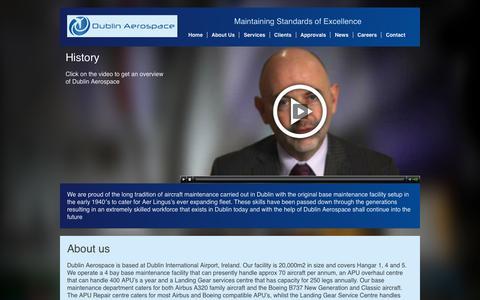 Screenshot of About Page dublinaerospace.com - About Us   Dublin Aerospace - captured Sept. 30, 2014