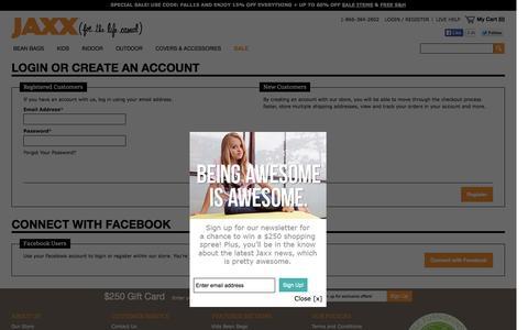 Screenshot of Login Page jaxxbeanbags.com - Customer Login - captured Oct. 1, 2014