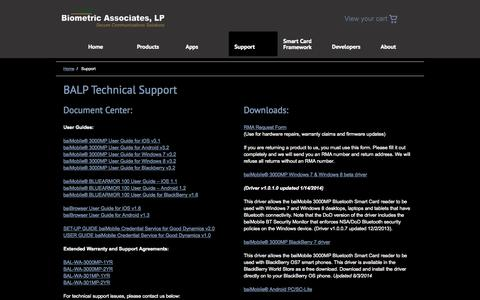 Screenshot of Support Page biometricassociates.com - Support «  Biometric Associates, LP - captured Sept. 13, 2014