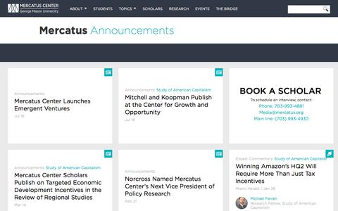 Screenshot of Press Page mercatus.org - Announcements | Mercatus Center - captured Sept. 24, 2018