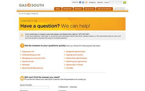 Screenshot of FAQ Page gas-south.com - Gas South   Contact Us   Atlanta Georgia   Natural Gas Service - captured Sept. 25, 2014