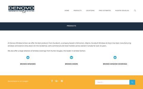 Screenshot of Products Page denovowindows.com - Products - Denovo Window & Door - captured Nov. 24, 2016