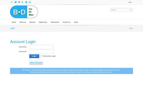 Screenshot of Login Page bidformymeds.com - Login - captured Sept. 19, 2014