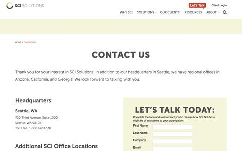 Screenshot of Contact Page scisolutions.com - Contact Us   SCI Solutions - captured Sept. 25, 2018