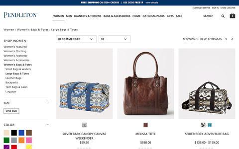 Screenshot of pendleton-usa.com - Large Bags & Totes | Women Women's Bags & Totes | Pendleton - captured Nov. 1, 2017