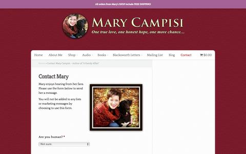 """Screenshot of Contact Page marycampisi.com - Contact Mary Campisi - Author of """"A Family Affair"""" - captured Aug. 10, 2016"""