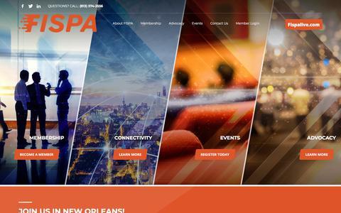 Screenshot of Home Page fispa.org - Homepage - FISPA - captured Aug. 8, 2018