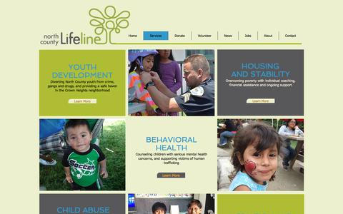 Screenshot of Services Page nclifeline.org - North County Lifeline - Services - captured Oct. 19, 2017