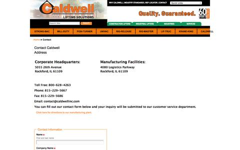 Screenshot of Contact Page caldwellinc.com - Contact Caldwell — Caldwell Group Lifting Solutions - captured Oct. 27, 2014