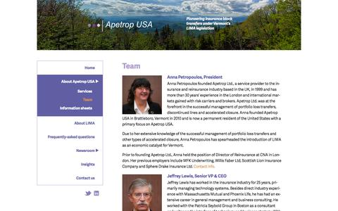 Screenshot of Team Page apetropusa.com - Team | Apetrop USA - captured Oct. 4, 2014