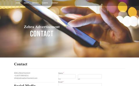 Screenshot of Contact Page zebraadvertisement.com - Contact Us Today - Zebra Advertisement - captured Oct. 25, 2015