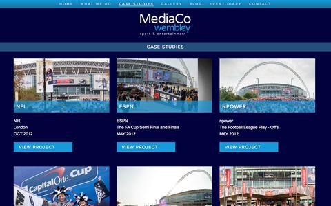 Screenshot of Case Studies Page mediacowembley.co.uk - case studies | MediaCo Wembley - captured Oct. 27, 2014