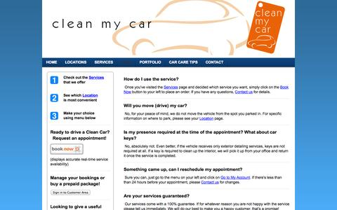 Screenshot of FAQ Page ecofriendlycarwash.net - F.A.Q. - Your on-site car cleaning and detailing service in the Greater Vancouver area - captured Sept. 29, 2014
