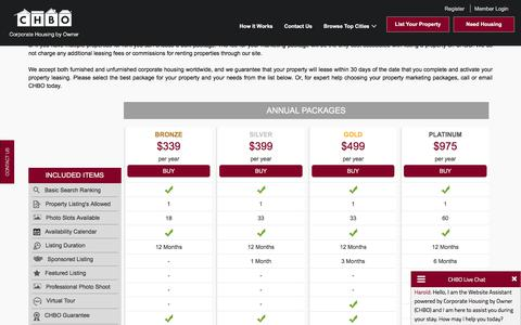 Screenshot of Pricing Page corporatehousingbyowner.com - Listing Packages and Pricing offered by Corporate Housing by Owner - captured June 29, 2017