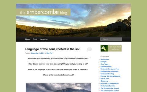 Screenshot of Blog embercombe.co.uk - The Embercombe Blog - captured Sept. 29, 2014