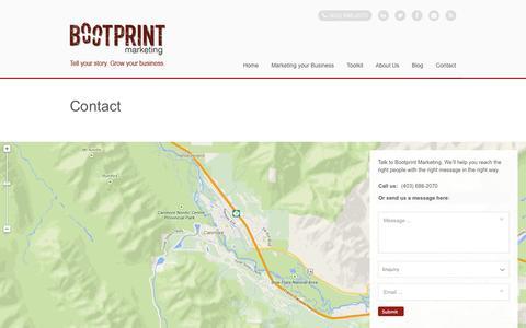 Screenshot of Contact Page bootprintmarketing.com - Contact | Bootprint Marketing - captured Sept. 30, 2014