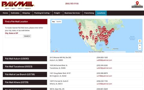 Screenshot of Locations Page pakmail.com - Stores | PakMail - captured Sept. 23, 2018
