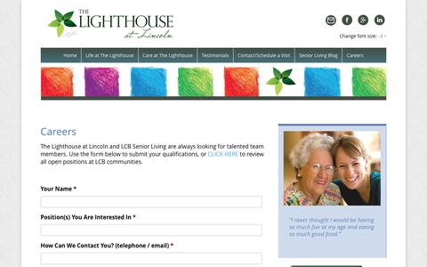 Screenshot of Jobs Page lighthouselincoln.com - Memory Care Assisted Living Jobs in Lincoln RI | Lighthouse at Lincoln - captured Dec. 17, 2016