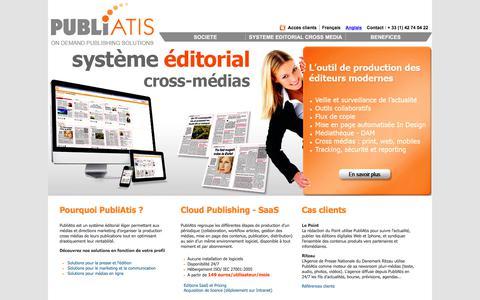 Screenshot of Home Page publiatis.com - PubliAtis : Le Systeme editorial nouvelle generation 100% web SaaS On Demand - captured July 12, 2018