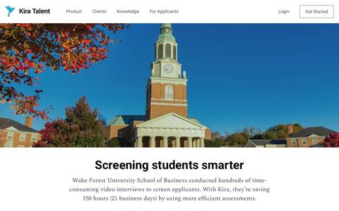 Screenshot of Case Studies Page kiratalent.com - Wake Forest University School of Business - Kira Talent - captured March 29, 2018