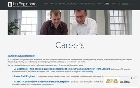 Screenshot of Jobs Page luengineers.com - Engineering Careers in Rochester, NY   Lu Engineers - captured May 23, 2017