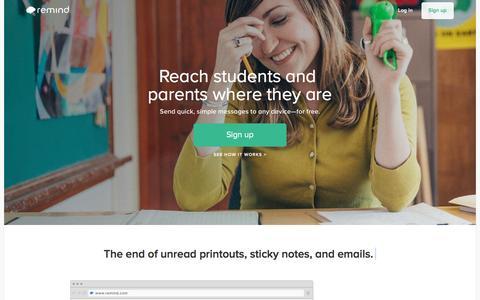 Screenshot of Home Page remind.com - Remind - captured April 9, 2016
