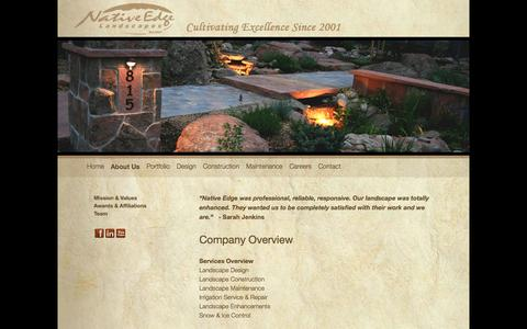 Screenshot of About Page nativeedgelandscapes.com - Company Overview   Native Edge Landscapes - captured Oct. 26, 2014