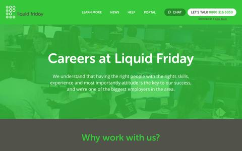 Screenshot of Jobs Page liquidfriday.co.uk - Careers at Liquid Friday – see all of our current vacancies - captured Oct. 2, 2014