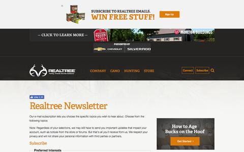 Screenshot of Signup Page realtree.com - Realtree Newsletter | Realtree - captured Jan. 14, 2017
