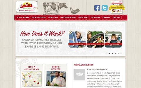 Screenshot of Home Page swissfarms.com - Swiss Farms | America's Drive Thru Grocer - captured Oct. 6, 2014