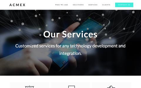 Screenshot of Services Page acmex.co - Acmex - We build custom and ultimate application solutions for business - captured Aug. 14, 2019