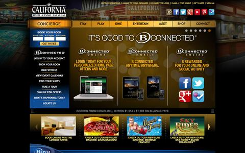 Screenshot of Home Page thecal.com - California Hotel & Casino in Downtown Las Vegas - TheCal.com - captured Jan. 19, 2016