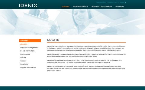 Screenshot of About Page idenix.com - About Us | Hepatitis C (HCV) Drug Discovery and Development | Idenix - captured July 19, 2014