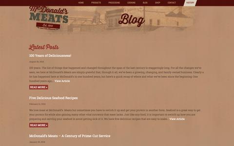 Screenshot of Blog mcdonaldsmeats.com - Blog : McDonald's Meats - captured Oct. 27, 2014