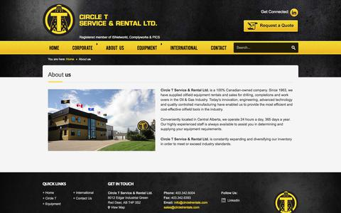 Screenshot of About Page circletrentals.com - About us - Circle T Oilfield Equipment Rentals is your Complete Source for Oilfield Rental Equipment and Sales since 1963. - captured July 31, 2017
