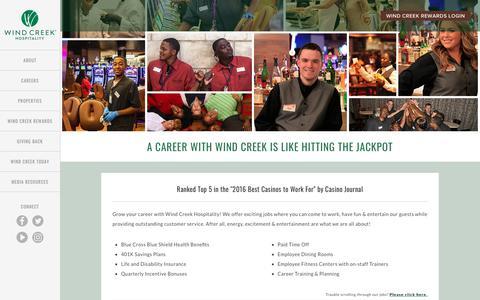 Screenshot of Jobs Page windcreekhospitality.com - Careers | Jobs | Apply Now - Wind Creek Hospitality - captured Sept. 20, 2018