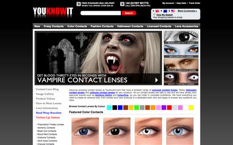 Screenshot of Home Page youknowit.com - Coloured Contact Lenses, Costume Contact Lenses, Halloween Lenses, Fashion Contacts - captured Sept. 19, 2014