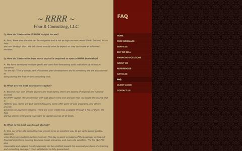 Screenshot of FAQ Page bhphconsulting.com - Four R Consulting, LLC - FAQ - captured Oct. 6, 2014