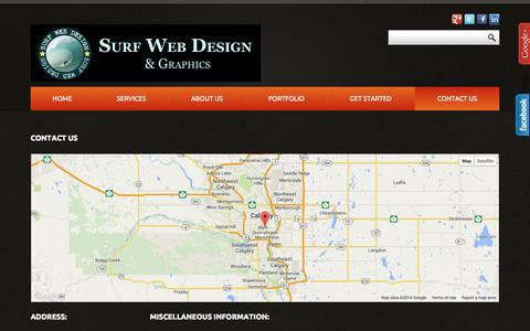 Screenshot of Contact Page surfwebdesign.ca - Contact Us - captured Oct. 3, 2014