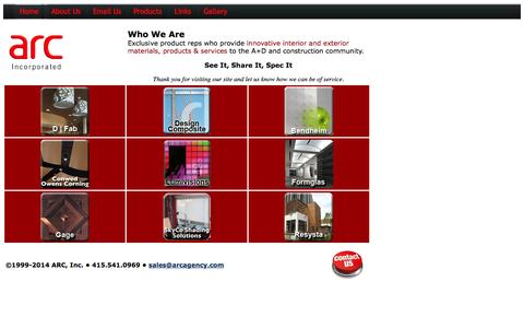Screenshot of Home Page arcagency.com - ARC, Inc. Exclusive Product Reps For Interior & Exterior Materials & Contract   Finishes - captured Sept. 30, 2014